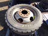 #2402 4 USED GODDYEAR G124 225 70R19.5 UNISTEEL RADIALS 10 LUG STEEL WHEELS