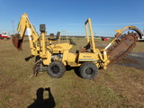 #1501 VERMEER TRENCHER V3550A 890 HRS WITH BACKHOE WITH BLADE MOD 8500 ENGI