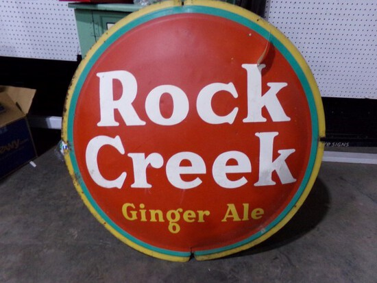 """PAINTED METAL SIGN ROCK CREEK GINGER ALE APPROX 40"""" ACROSS"""