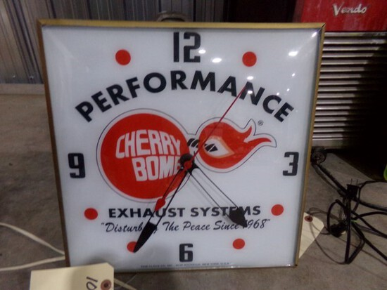 PERFORMANCE CHERRY BOMB EXHAUST SYSTEM ELECTRIC CLOCK APPROX 15 X 15