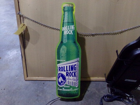 """LIGHTED ROLLING ROCK BOTTLE DESIGN APPROX 30"""" TALL X 9"""" ACROSS"""