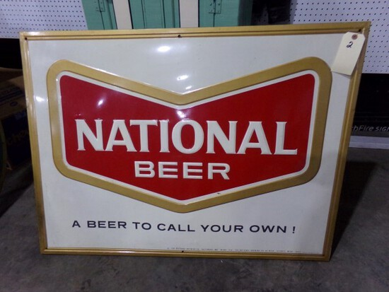 """NATIONAL BEER SIGN METAL MOUNTED ON WOOD APPROX 46"""" X 34"""""""