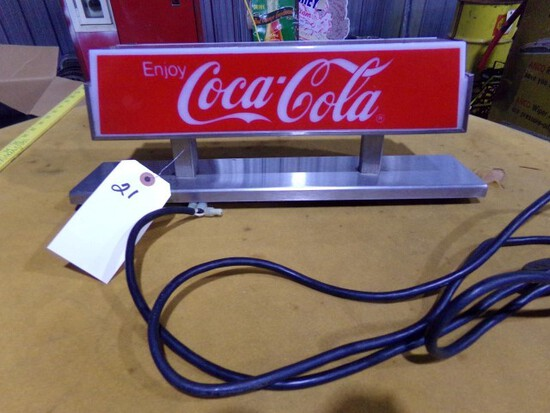 COCA COLA FOUNTAIN TOP SIGN MADE BY SITCO MODEL 164088 115 VOLT APPROX 19 X