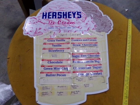 HERSHEY ICECREAM TIN SIGN FAMOUS FOR QUALITY APPROX 33 X 28 1/2