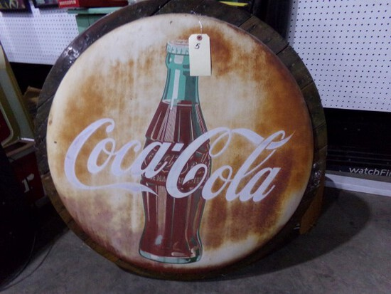 VINTAGE COCA COLA BUTTON SIGN MOUNTED ON WOOD FRAME HAS SOME RUST APPROX 48