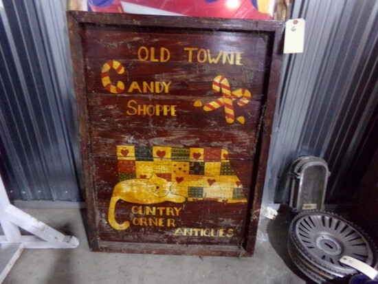 HAND MADE WOODEN SIGN OLD TOWNE CANDY SHOP COUNTRY CORNER ANTIQUE 2 SIDED A