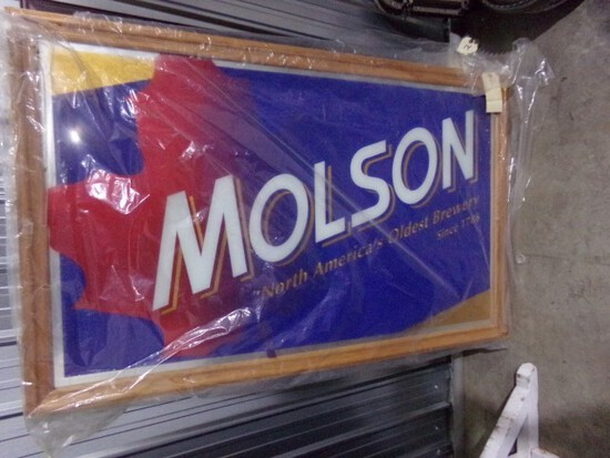 """MOLSON BEER SIGN MIRROR BACK SINGLE SIDED APPROX 51"""" x 33"""" NEW IN WRAPPER"""