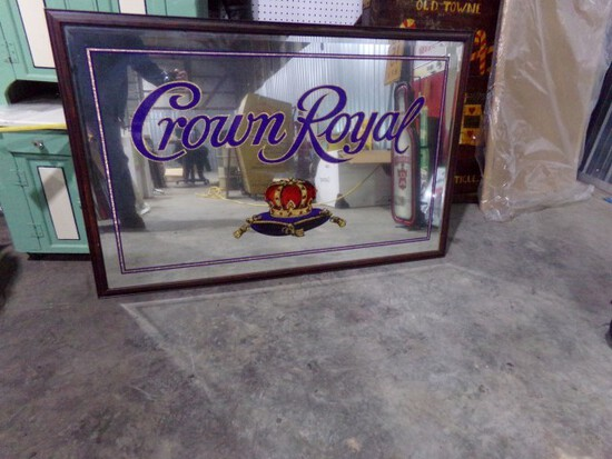 """CROWN ROYAL SIGN MIRROR SIGN SINGLE SIDED APPROX 50"""" X 33"""""""