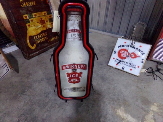 """LIGHTED NEON SMIRNOFF ICE SIGN APPROX 32"""" TALL"""