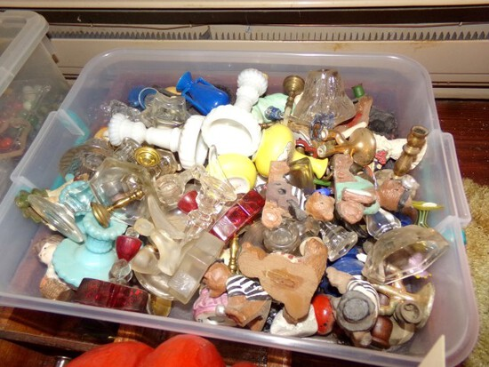 ANTIQUE PIGEON HOLE BOX WITH CANDLE HOLDERS VASES AND PLASTIC TOTE FULL OF