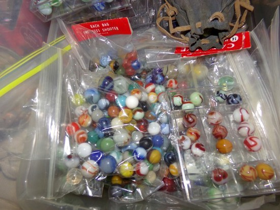 PLASTIC TOTE FULL OF COLLECTIBLE MARBLES