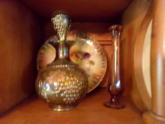 TWO SHELVES WITH GRAPE PATTERN CARNIVAL GLASS DECANTER CANDLE STICK HOLDERS
