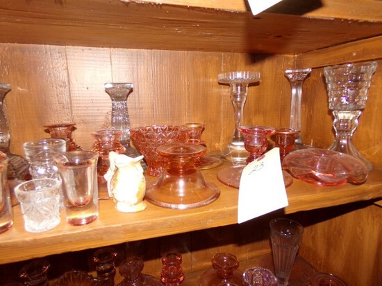 LARGE COLLECTION OF PINK GLASS CANDLE HOLDERS CANDY DISHES VASELINE GLASS A