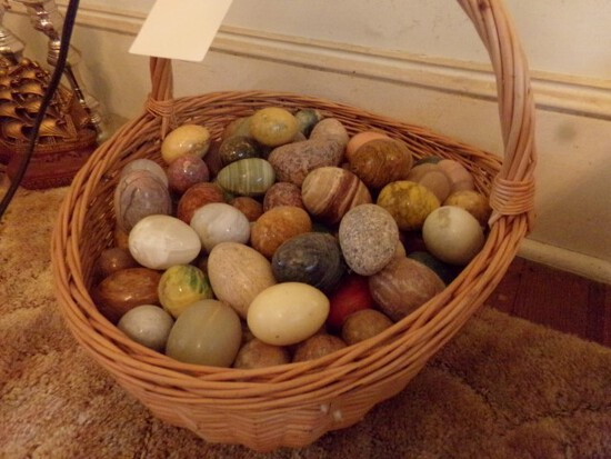 BASKET FULL OF JADE AND STONE EGGS