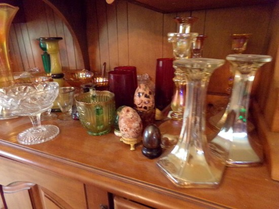 COLLECTION OF CANDLE STICK HOLDERS RUBY GLASS PEDESTAL BOWLS AND MORE