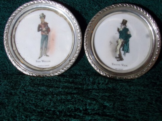 2 ANSTOM STERLING DICKENS CHARACTER COASTERS TROTTY VECK THE CHIMES & SAM W