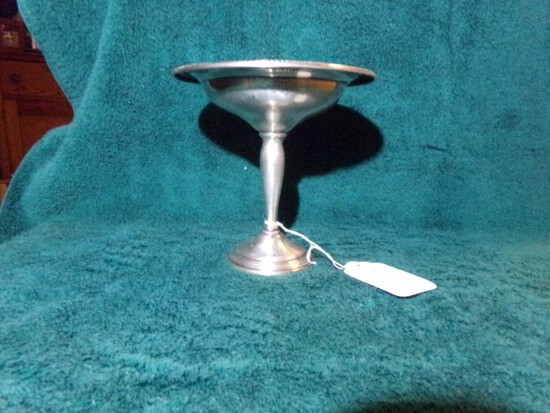 COURTSHIP INTERNATIONAL STERLING PEDESTAL DISH WEIGHTED T200 6 INCH TALL 7.