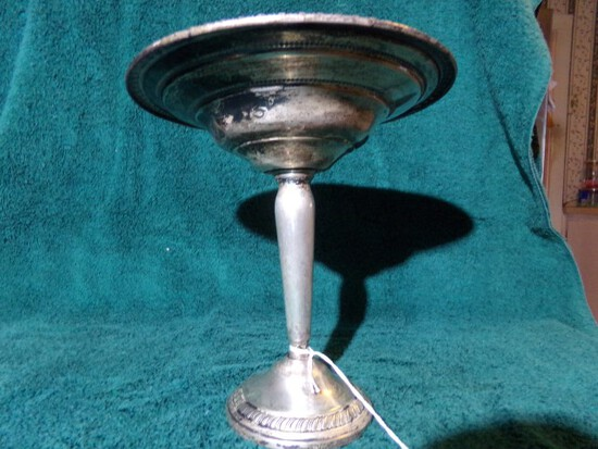 REVERE SILVER SMITH STERLING PEDESTAL BOWL 884 WEIGHTED APPROX 7 INCH TALL