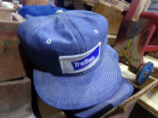 BOX OF TREFLAN HATS AND OTHER ADVERTISING HATS