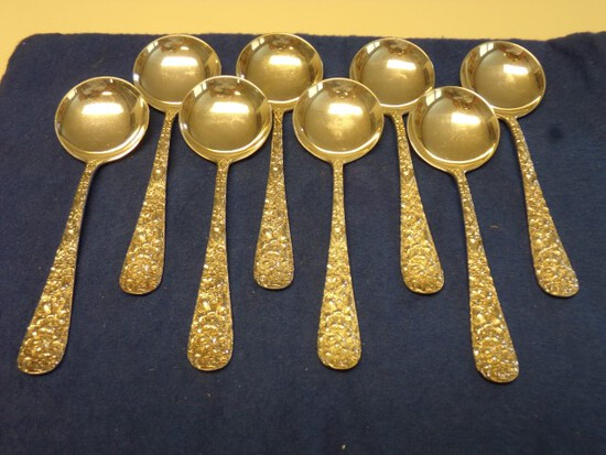 8 STIEFF STERLING SOUP SPOONS 8.69 T OZ