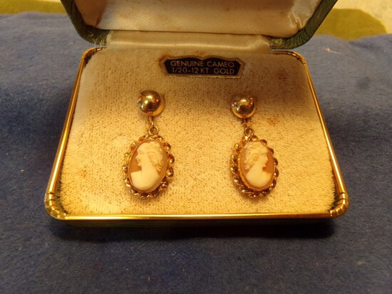 12 KT GOLD FILLED AND CAMEO EARRINGS
