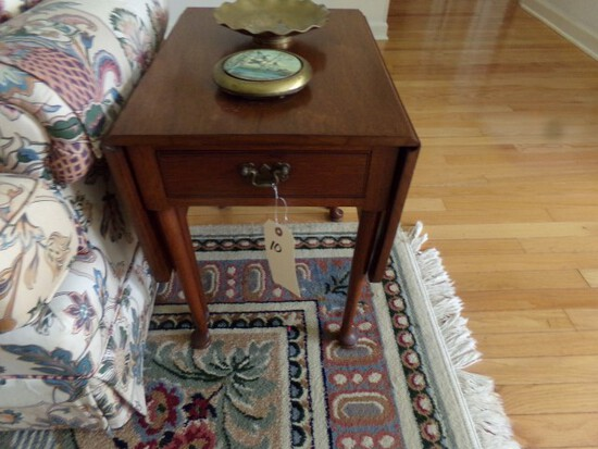 MAHOGANY DROP LEAF END TABLE SINGLE DRAWER GATE LEG WITH CONTENTS OF BRASS