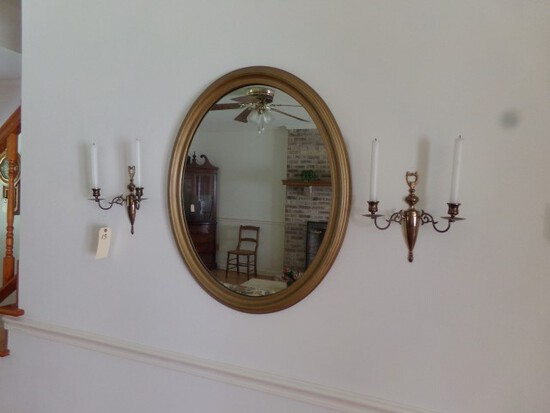 PAIR BRASS WALL HUNG CANDLE HOLDERS AND OVAL MIRROR