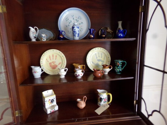 CONTENTS OF HUTCH INCLUDING PITCHERS COPPER LUSTER COBALT AND OTHER COLLECT