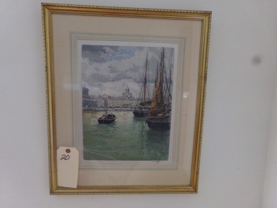 THREE PIECES OF ART INCLUDING HARBOR SCENES AND FLORALS