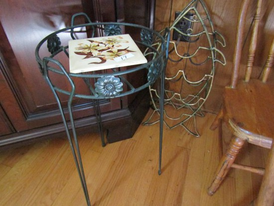 WROUGHT IRON PLANT STAND AND FISH SHAPED WINE RACK