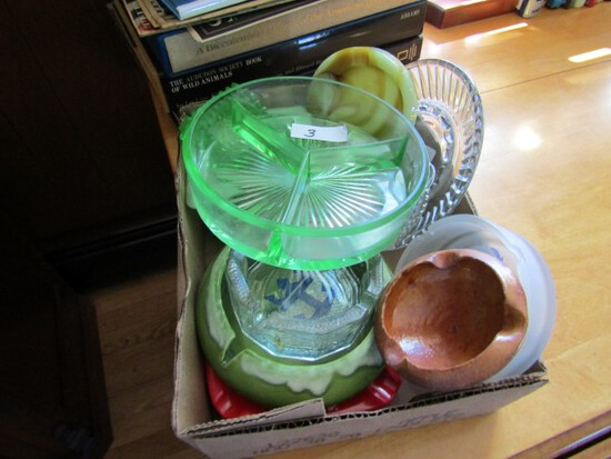 BOX LOT GLASSWARE INCLUDING DIVIDED CANDY GREEN HOBNAIL ASHTRAYS AND MORE