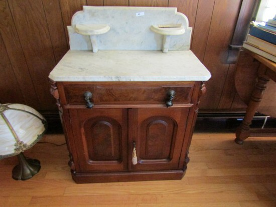 ANTIQUE MARBLE TOP WASH STAND WITH BURLED MAHOGANY ORIGINAL TEAR DROP PULLS