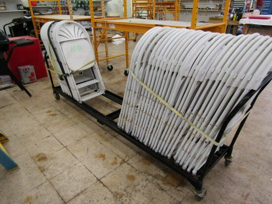 #1091 CHAIR RACK ON CASTERS 40 WHITE CHAIRS