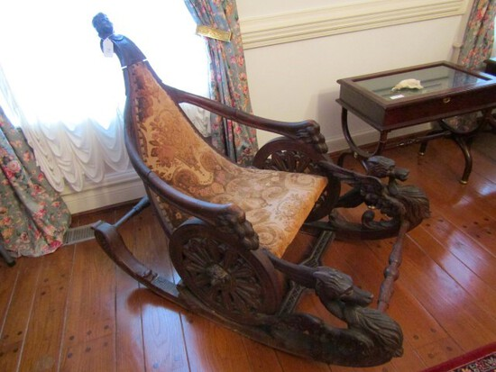 19TH CENTURY VERY ORNATE HARDWOOD VENETIAN FANTASY ROCKER WITH CARVED GRIFF