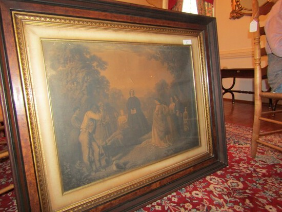 EARLY 19TH CENTURY STEEL ENGRAVING IN WALNUT FRAME 36 X 44