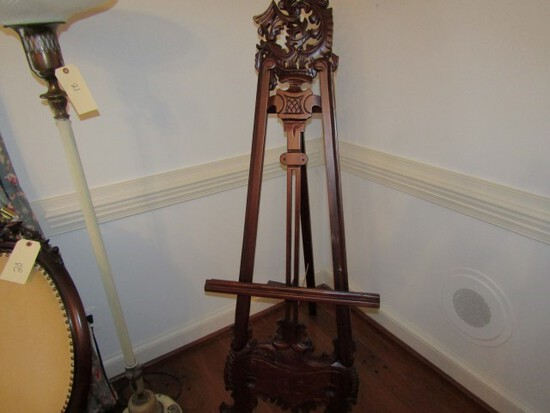 CONTEMPORARY HEAVILY CARVED HARDWOOD EASEL