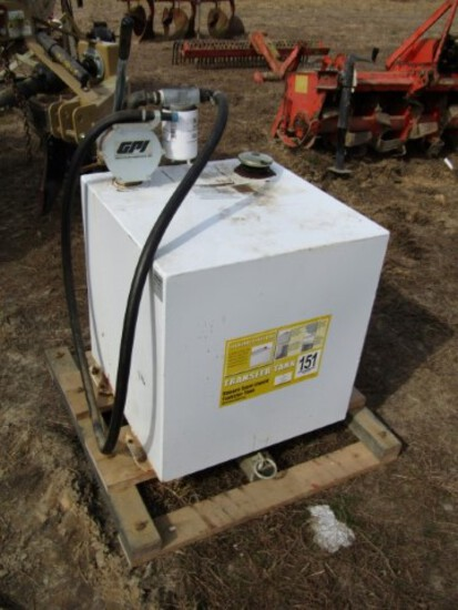#305 TRANSFER TANK 50 GAL STEEL TANK GPI HAND PUMP WITH FILTER 3/4 8'  HOSE