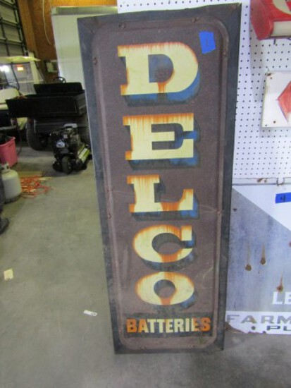 VINTAGE TIN DELCO BATTERIES SIGN APPROXIMATELY 62 X 24