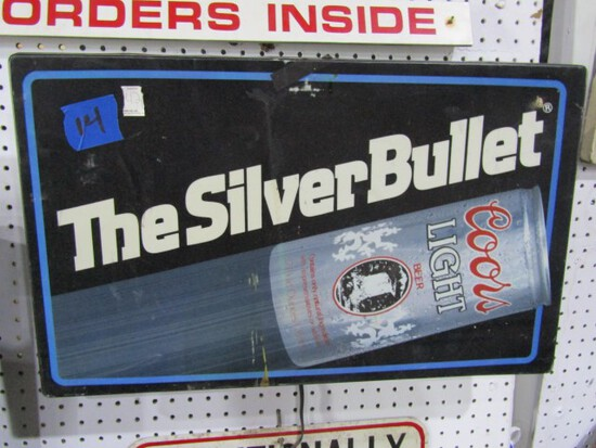 LIGHTED SILVER BULLET SIGN APPROXIMATELY 26 X 16