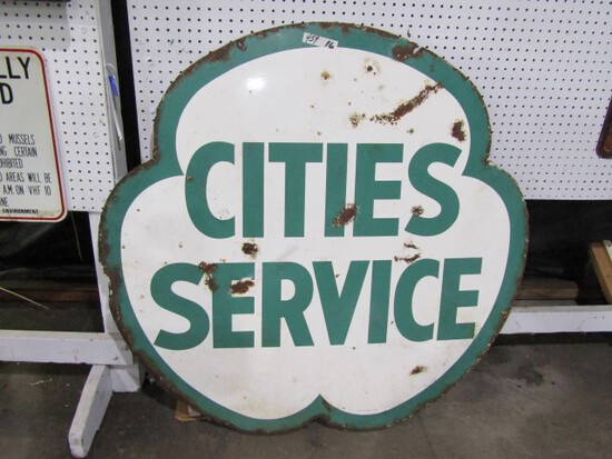 TWO SIDED CITIES SERVICE CLOVER SHAPED SIGN BY VERIBRITE SIGNS CHICAGO NEW