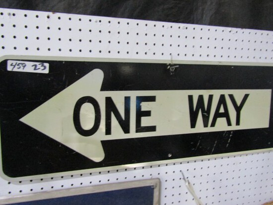 ONE WAY REFLECTIVE SIGN TWO SIDED APPROXIMATELY 36 X 12