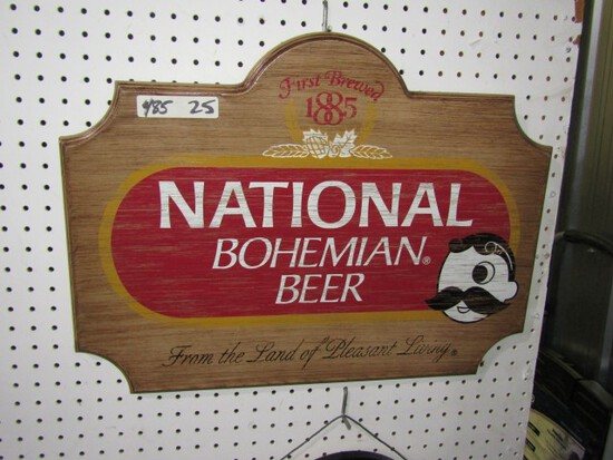 NATIONAL BOHEMIAN WOODEN SIGN APPROXIMATELY 24 X 18