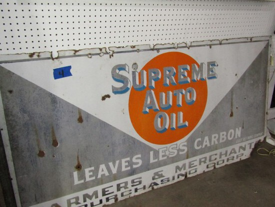 VINTAGE PORCELAIN SUPREME AUTO OIL SIGN FROM GULF REFINING COMPANY FARMERS