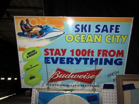 BUDWEISER SKI SAFE IN OCEAN CITY SIGN 36 X 24