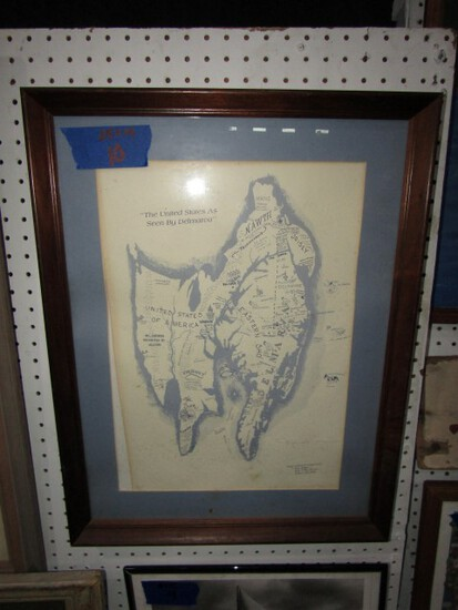 FRAMED UNDER GLASS PRINT UNITED STATES AS SEEN BY DELMARVA 25 X 19