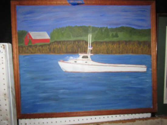 OIL ON CANVAS OF CHESAPEAKE DEAD RISE IN RIVER 32 X 25