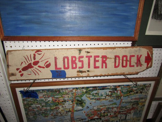 OLD HAND PAINTED WOODEN SIGN LOBSTER DOCK 36 X 8