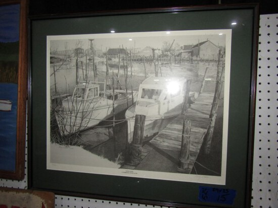 BLACK AND WHITE PRINT ICED OVER CAMBRIDGE MD BY MARY WATSON 16 OF 400 FRAME