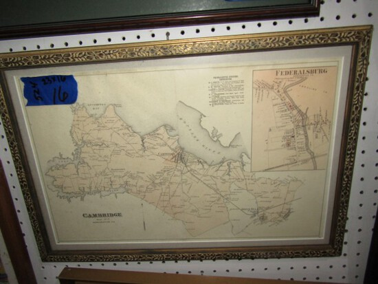 FRAMED UNDER GLASS EARLY MAP OF CAMBRIDGE MD DISTRICT 7 23 X 16
