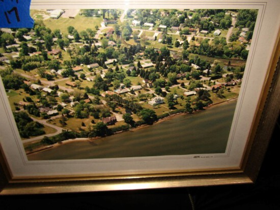 FRAMED UNDER GLASS COLOR PHOTO OF RIVER FRONT  CAMBRIDGE MD 22  X 17